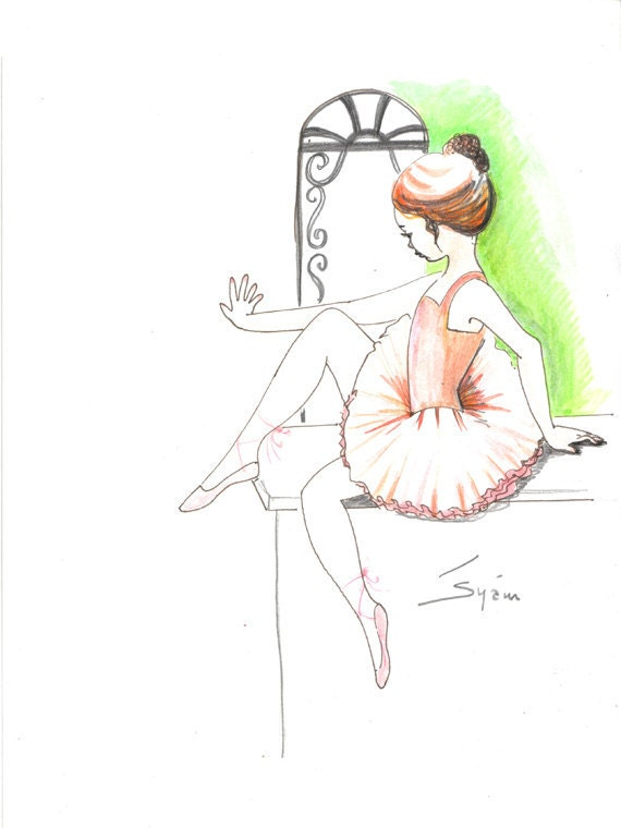 Original pen drawing with watercolor..The little by syamarts