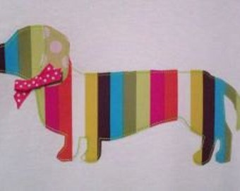 Funky Weiner Dog Machine Applique Design
