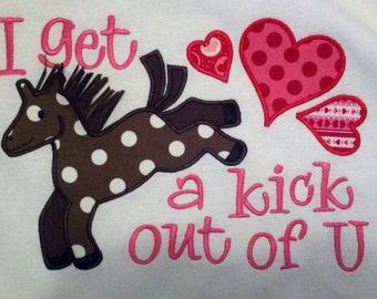 I get a kick out of U Horse Valentine Machine Applique Design