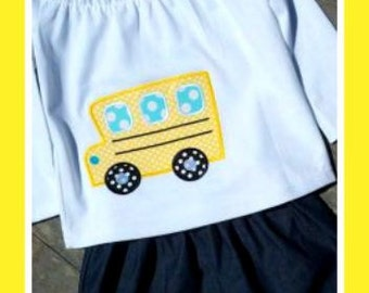 School Bus Machine Applique Design