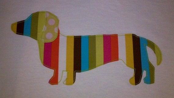 Funky Weiner Dog Machine Applique Design