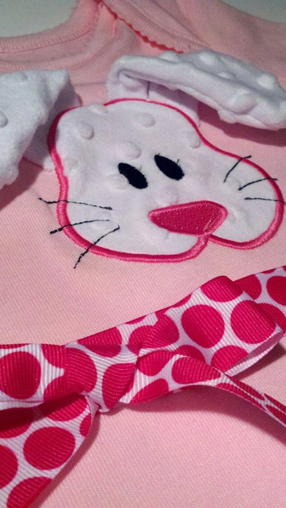 Peek a Boo Bunny with Floppy Ears In the Hoop Machine Applique Design