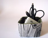 Wood grain square fabric storage basket, office or desk organizer: black and white with olive green eco felt lining