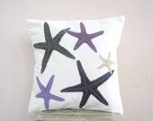Throw pillow purple, grey, mauve, and plum starfish on white organic cotton, beach cottage decor