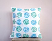 SALE Throw pillow - turquoise blue and green Indian circles, eco friendly organic cotton cushion pillow cover