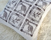 Throw pillow: african bird and lizard print in earthy brown on natural linen pillow cushion cover, tribal decor