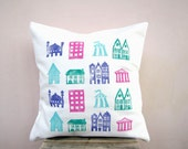 Decorative throw pillow, colorful house print on white eco friendly cotton pillow - children kids nursery decor