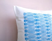 SALE Decorative pillow: sky blue African inspired geometric print, modern tribal decor pillow cushion cover