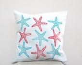 Beach house pillow: starfish print in aqua and coral on white, nautical pillow cushion cover, beach cottage decor