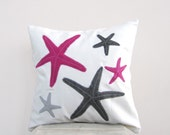 SALE Throw pillow: hot pink and gray starfish pillow, for beach cottage decor, eco friendly beach pillow