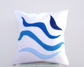 SALE Modern throw pillow - ocean waves: blue appliques on white organic cotton pillow / cushion cover, beach house