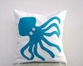 Decorative octopus pillow, nautical nursery pillow cushion: octopus in teal eco felt applique on white organic cotton