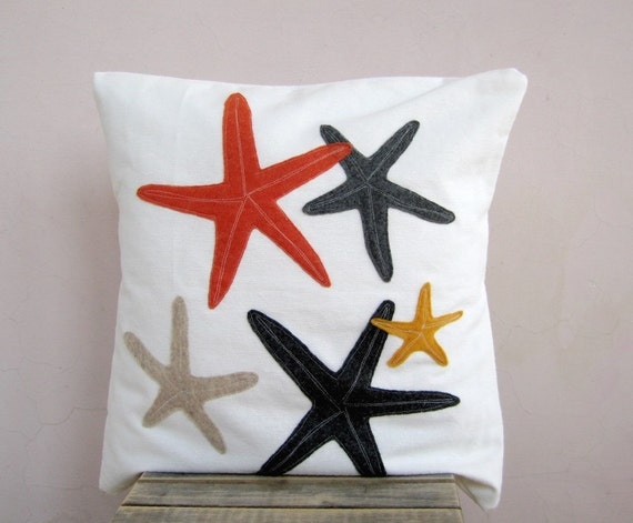 Decorative Throw Pillow: starfish in grey, orange and gold - accent pillow cushion cover