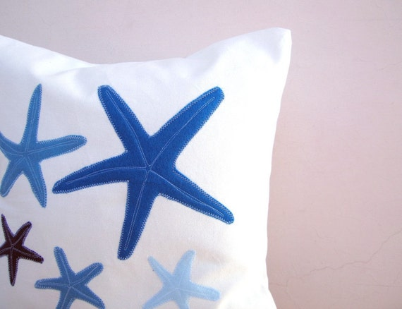 Blue throw pillow: starfish in tones of blue, nautical pillow for beach cottage decor, eco friendly pillow