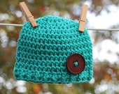 Newborn Hat Teal Green with Brown Button