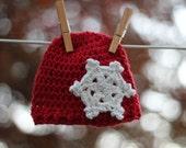 Newborn Hat Holiday Baby Beanie Red Snowflake