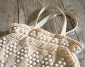 Vintage Diamond Pattern Beaded Purse - White and Cream