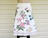 Floral Embroidered White Cotton Skirt..Knee Length..Size 8