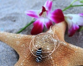 Zebra Shell Gold Hoop Earrings - Hammered and Hand made in Hawaii by Aly Beach Jewelry