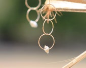 Gold Triple Hoop Earring with Natural Shell - Hammered and handmade in Hawaii by Aly Beach Jewelry