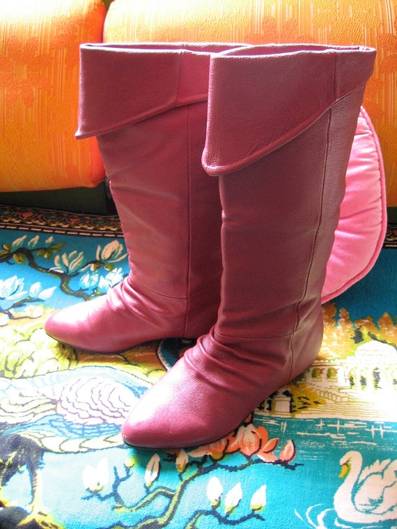 Glamorous Red Leather 1980s BOOTS 8.5 m