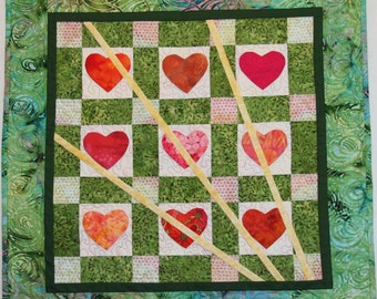 Art Quilt, Fractured Hearts