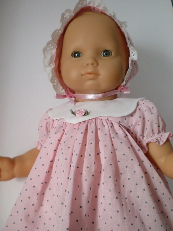 Bitty Baby Doll Clothes Polka Dot Dressbonnet By Fashioned4you