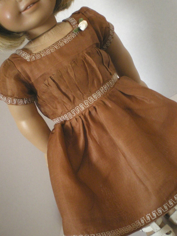 Chocolate Organza Dress, Vintage Style,  American Girl Doll Clothes