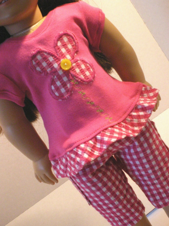 Ruffled Tshirt, Gingham Capris, American Girl Doll Clothes