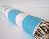 Best Quality Hand - Woven Turkish Cotton Bath Towel or Sarong-Natural Cream and Turquoise