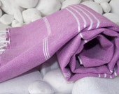 Best Quality Hand-Woven Turkish Cotton Bath Towel or Sarong-Lilac,Violet and White Stripes