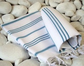 Best Quality Set of 2 Hand Woven Turkish Cotton Hand Towel,Head Towel,Tea Towel or Unisex Neck Warmer-Emerald Green Stripes on White