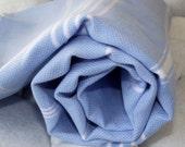 High Quality Hand Woven Turkish Cotton Bath,Beach,Pool,Spa,Yoga,Travel Towel or Sarong-White Stripes on Pale Blue
