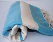 High Quality Hand - Woven Turkish Cotton Bath,Beach,Pool,Spa,Yoga,TravelTowel or Sarong-Natural Cream and Turquoise
