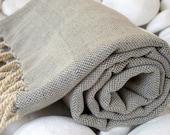 High Quality Hand Woven Pure Linen Turkish Bath,Beach,Pool,Spa,Yoga Towel or Sarong-Green,Grey,Khaki