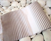 Soft and Light Best Quality Hand Woven Turkish Cotton Bath Towel or Sarong-Soft Brown and White Stripes