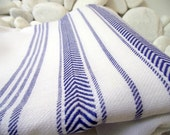 Best Quality Hand Woven Turkish Cotton Soft,Organic Bath Towel or Sarong-Sailor Blue Stripes on White