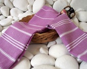 High Quality- Set of 2- Hand Woven Turkish Cotton Hand Towel,Hair Towel or Unisex Neck Warmer-White Stripes on Lilac