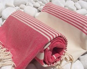 Set of 2-High Quality Hand Woven Turkish Cotton Bath Towel or Sarong-Natural Cream and Coral Red Stripes on Coral Red and Natural Cream