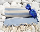 High Quality Hand Woven Turkish Cotton Bath Towel or Sarong-Natural Cream Stripes on Pale Blue