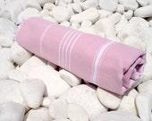 High Quality Hand Woven Turkish Cotton Bath,Beach,Pool,Spa,Yoga,Travel Towel or Sarong-White Stripes on Pale Lilac Pink