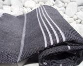 High Quality Hand-Woven Turkish Cotton Bath,Beach,Pool,Spa,Yoga,Travel Towel or Sarong-White Stripes on Black