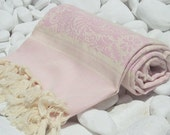 High Quality,Hand Woven,Turkish Cotton Bath,Beach,Pool,Spa,Yoga,Travel Towel or Sarong-Natural Cream,Baby Pink Flowers and Stripes