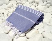 High Quality Hand Woven Turkish Cotton Bath,Beach,Pool,Spa,Yoga,Travel Towel or Sarong-White Stripes on Denim Blue