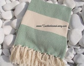 High Quality Hand-Woven Turkish Cotton Bath,Beach,Pool,Spa,Yoga,Travel Towel or Sarong-Sage Green and Natural Cream,Ivory