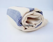 High Quality Hand Woven Turkish Cotton Bath,Beach,Pool,Spa,Yoga,Travel Towel or Sarong-Mathing Natural Cream and Navy Blue