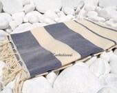 Turkishtowel-High Quality Hand Woven Turkish Cotton Bath,Beach,Pool,Spa,Yoga Towel or Sarong-Natural Cream and Navy Blue