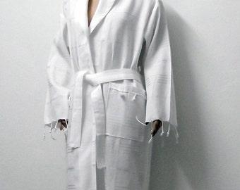 High Quality Hand Woven Turkish Cotton Bath Robe,Spa,Yoga,Travel from Peshtemal-White Stripes on White-Unisex