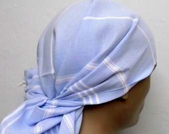 Turkish Hand Towel-Peshkir-Pale Blue and White Striped