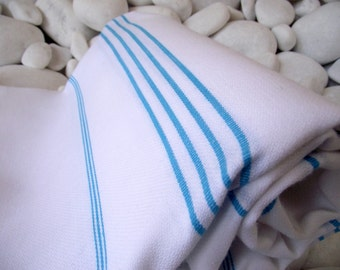 High Quality Hand-Woven Turkish Cotton Bath,Beach,Pool,Spa,Yoga,Travel Towel or Sarong-Turquoise Stripes on White